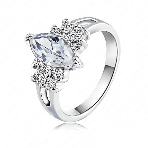 Mujer Niñas bañados en oro 18 K anillos compromiso Bandas de boda tamaño Rose Gold/