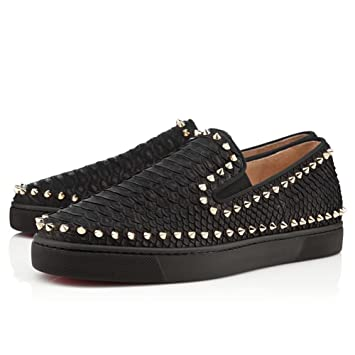 503986f1b30 Garlly SHOES Men s Pik Boat Glitter Disco Ball Flats Rose Gold Spikes Black  Sneakers Slip On  Amazon.co.uk  Sports   Outdoors