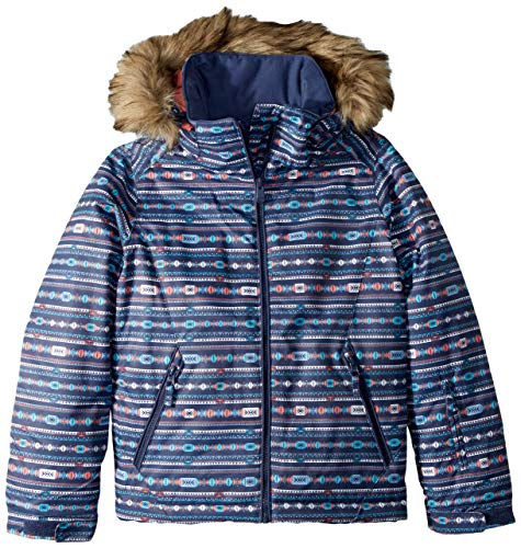 (Roxy Little American Pie Girl Snow Jacket, Crown Blue_Indie Stripes, 8/S)