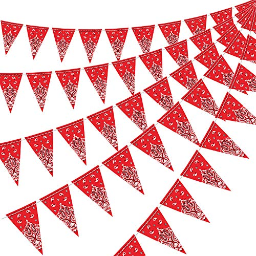 5 Pack Bandana Pennant Banner, Wild West Party Accessory for Western Cowboy Party Themed Decoration, 7.4 x 10.8 Inch]()