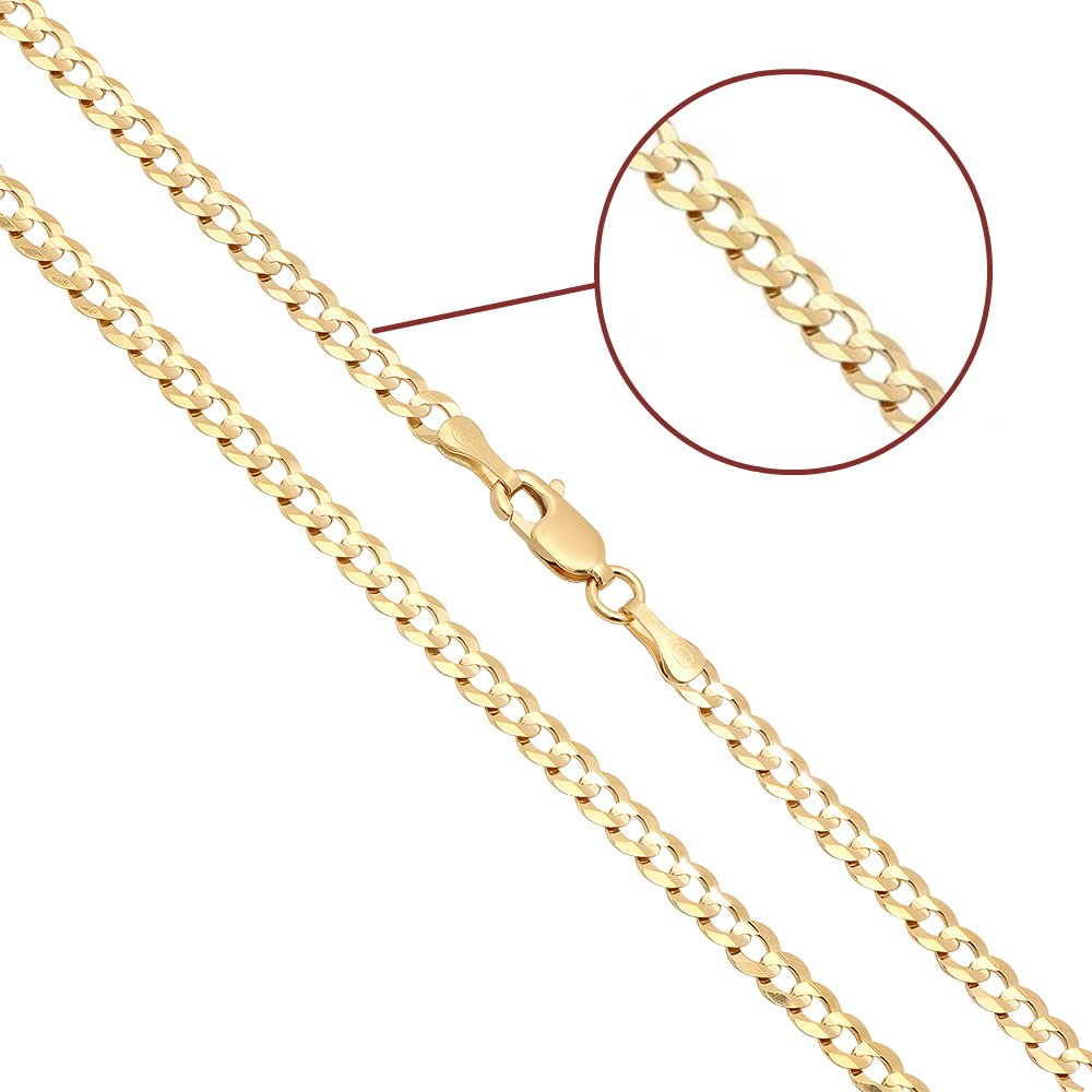 14K Solid Yellow Gold 3mm Cuban Curbed Chain with Lobster Clasp, 18-inches, from Joule Shop