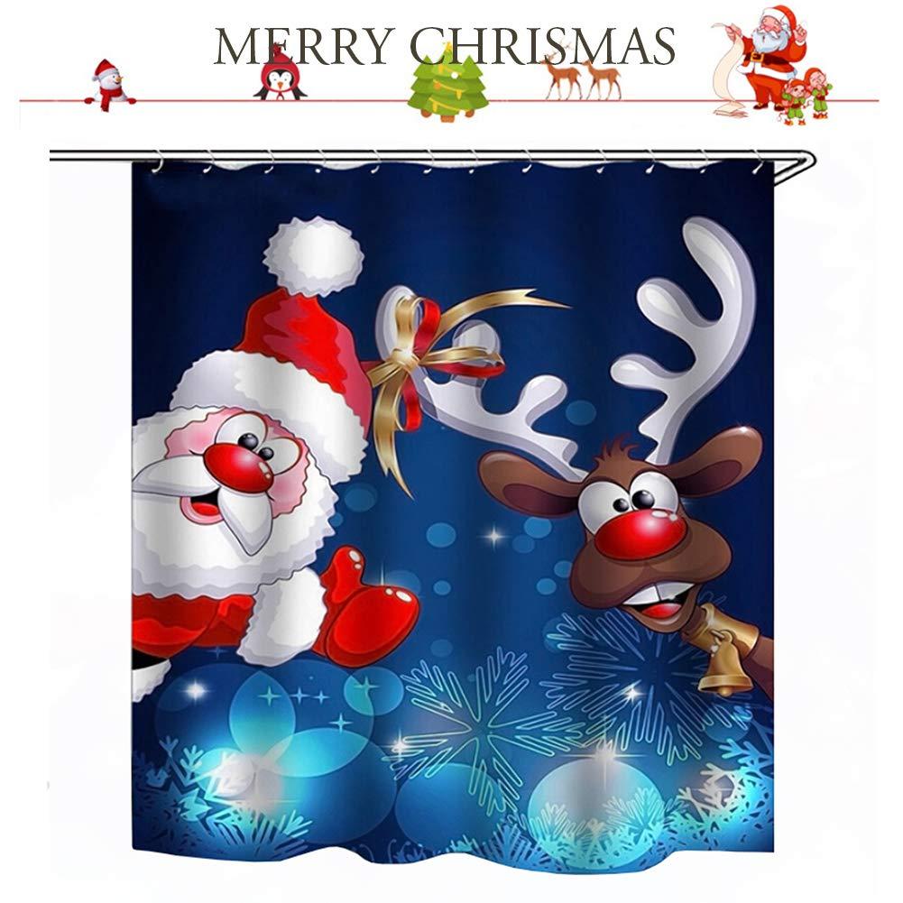 shaoyunshop Weihnachts-Motiv Duschvorhang Weihnachtsmann mit ...