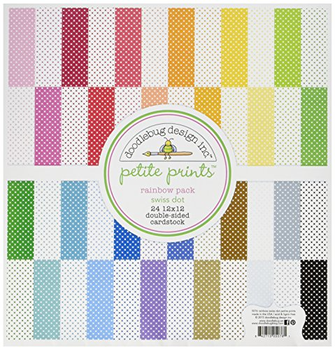 DOODLEBUG 5076 Petite Swiss Dot cartulina (24Pack), 30,5x 30,5cm Arco Iris, Varios Colores