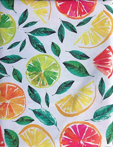 Fiesta Jacobean Citrus Slices Tablecloth Oranges Limes Lemons Leaves - Citrus Bliss/Multi - 60 Inches by 120 Inches