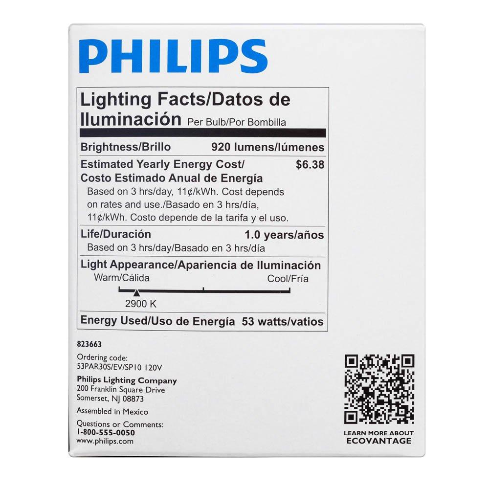 Philips 421123 53-watt PAR30S Dimmable Halogen Spot Light Light Bulb - Incandescent Bulbs - Amazon.com