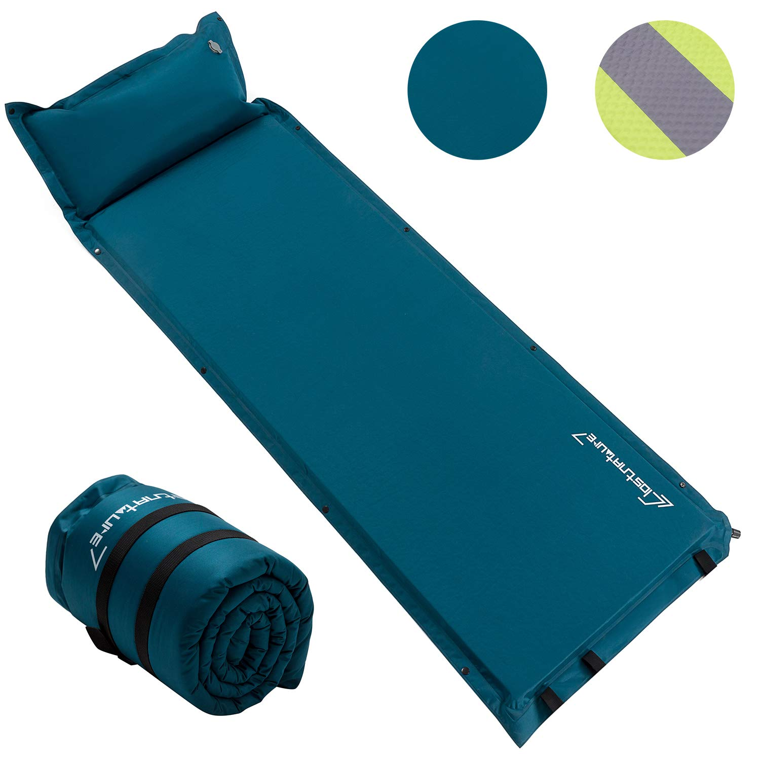 Self Inflating Sleeping Pad for Camping - 1.5 Inch Camping Pad, Lightweight Inflatable Camping Mattress Pad, Insulated Foam Sleeping Mat for Backpacking, Tent, Hammock by Clostnature