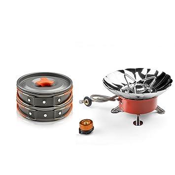 Kit de camping utensilios de cocina con mini estufa de camping - Kit ODOLAND Cookware que acampa ...