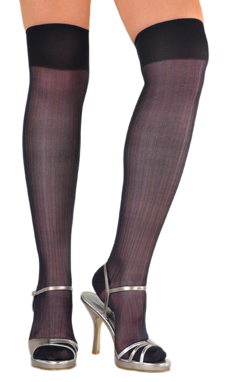 Stunning Pure Silk Fantasie Semi-Sheer Over-the-Knee Socks - One Pair Dark Sapphire Large