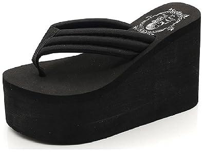 ef05770149f Hanxue Womens Chunky High Platform Wedge Flip-Flops Sandals Black US4.5