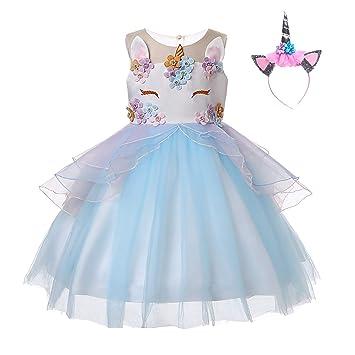 UrbanDesign Vestido de Princesa Unicornio para Niñas Cumpleaños, 7-8 Años, Azul