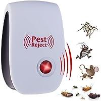 Exing Répulsif Anti-Insectes à ultrasons Plage de fréquence : 22-65KHZ 80-120m2 Protection 8,8 x 5,6 x 5 cm