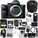 Sony Alpha A7S II 4K Wi-Fi Digital Camera Body with FE 50mm f/1.8 Lens + 64GB Card + Backpack + Flash + Video Light + Battery/Charger Kit