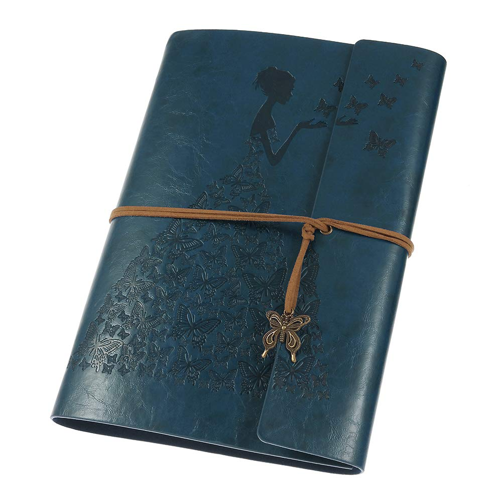 Leather Journal, MaleDen Vintage Spiral Bound Notebook Refillable Dairy Sketchbook Travel Journal to Write in with Blank Pages for Women Girls Gifts (A5, Deep Blue)