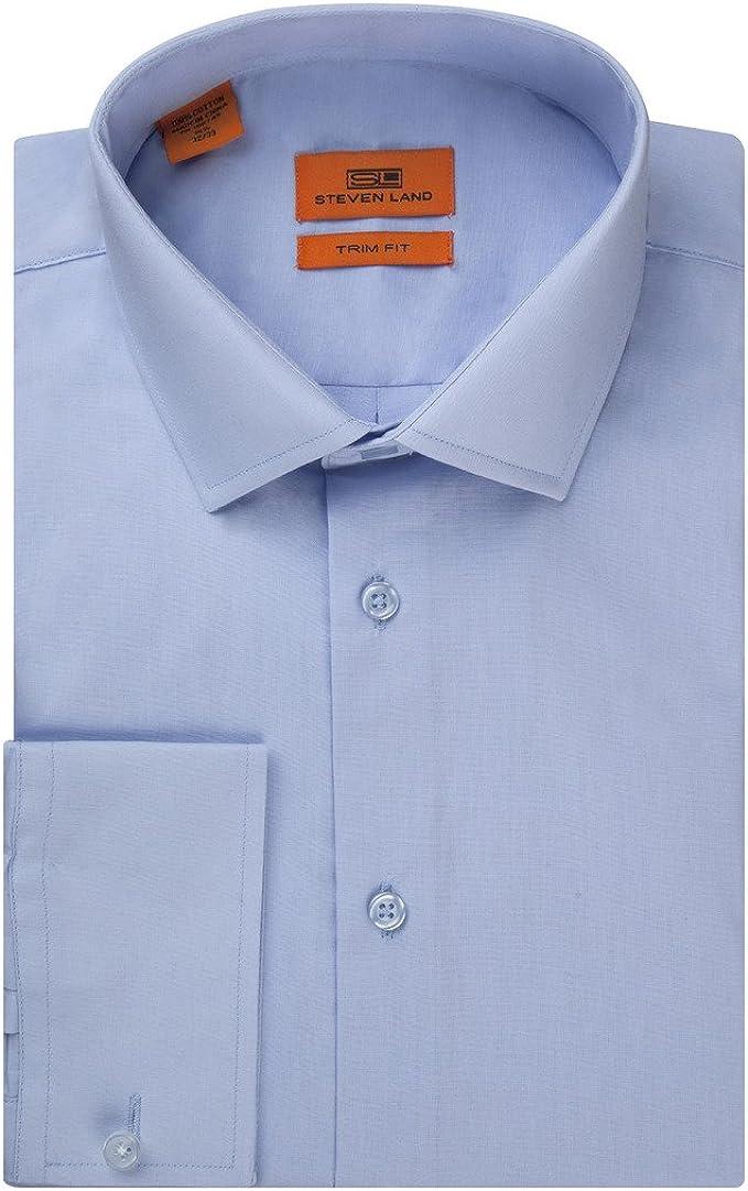 Steven Land Camisa de Vestir de Popelina Maciza 100% algodón ...