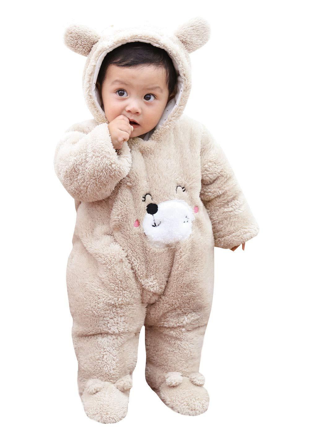 Happy Cherry Bambino Tute da Neve Cappotto unisex Cappuccio Orecchie per Bambini Pagliaccetto Pelliccia Pagliaccetto caldo Inverno Autunno Bianco 0-3 Mesi