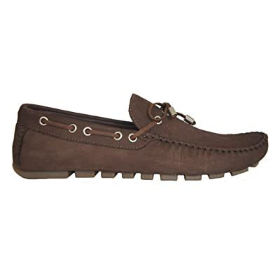 F.Nebuloni Driving Loafers in Brown Nubuck Squares Pattern - 100% Leather - Hand Made for Men