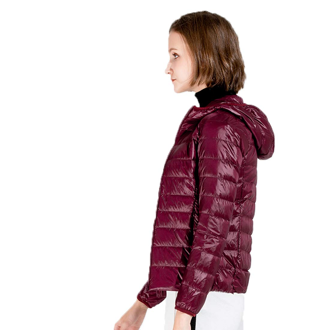Moocare Girls Hooded Ultra Thin Light Weight Down Jacket Short Packable Slim Down Coat