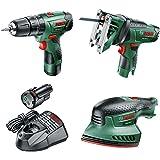 Bosch Cordless Bundle: Hammer Drill, Jigsaw and Sander (2 Batteries, 10.8 Volt)