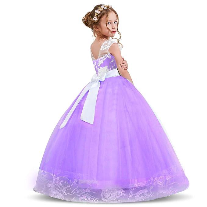 Princesa Niñas Bordado Nnjxd Encaje Las Largo De Vestido edrWBoCQx