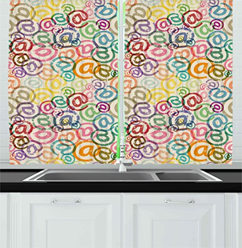 Colorful Kitchen Curtains By Ambesonne  Retro Old Pattern With Email Signs Internet Network Symbol Artsy Aged Illustration  Window Drapes 2 Panels Set For Kitchen Cafe  55W X 39L Inches  Multicolor
