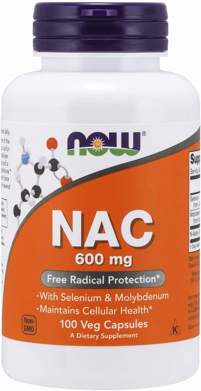 NOW Supplements, NAC (N-Acetyl Cysteine)600 mg with Selenium & Molybdenum, 100 Veg Capsules: Health & Personal Care