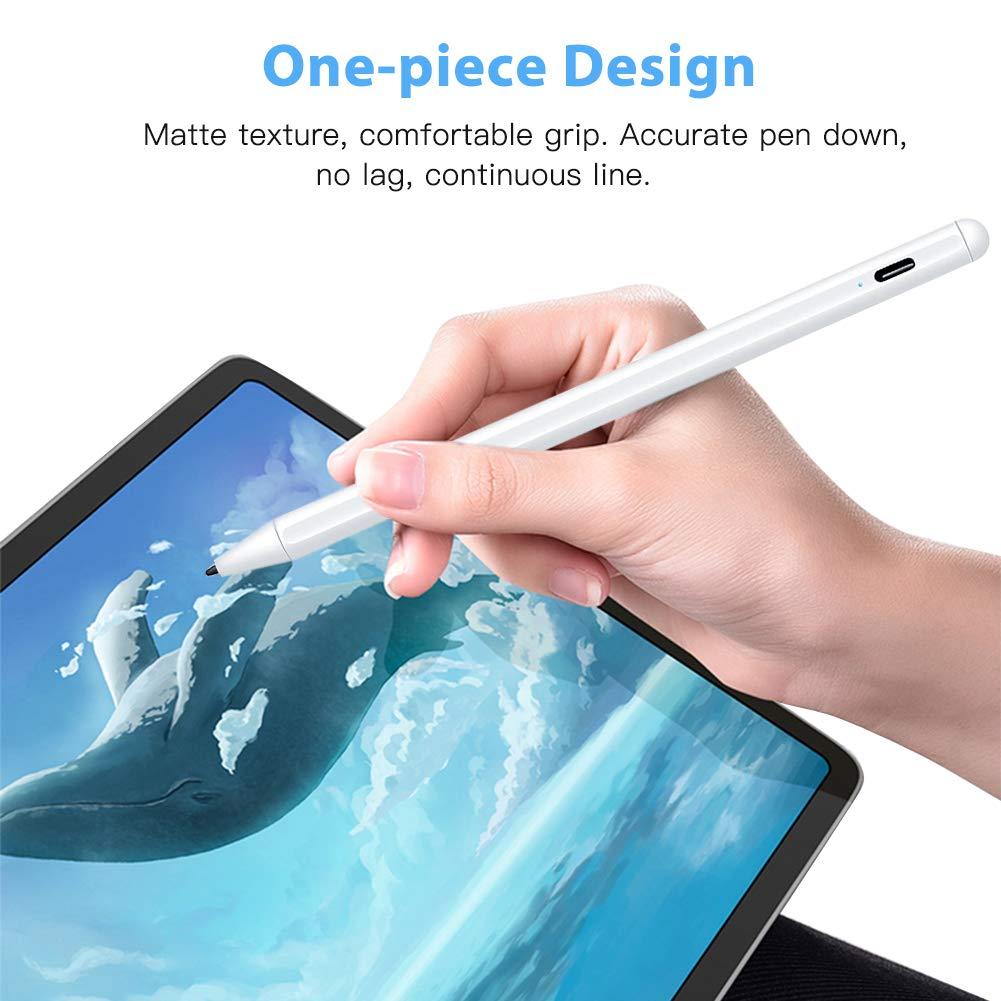 Elekpopu Stylus Stift mit Palm Rejection für Apple iPad 2018 & 2019 iPad Air 3 Mini 5 iPad Pro 11/12.9, 1.0 mm Feine Spitze, Hochpräziser iPad-Bleistift zum Zeichnen und Schreiben (Weiß)