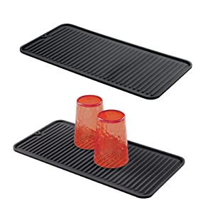mDesign Silicone Dish Drying Mat and Protector for Kitchen Countertops, Sinks - Ribbed Design - Non-Slip, Waterproof, Heat Resistant, Dishwasher Safe - Small - 2 Pack - Black