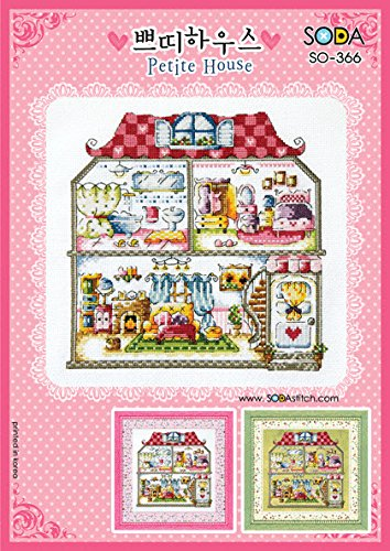 SO-366 Petite House, SODA Cross Stitch Pattern leaflet, authentic Korean cross stitch design chart color printed on coated paper