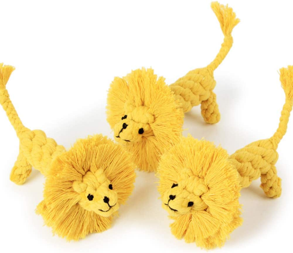 Manual Weaving Lion Shape Pet Dog Chew Molar Toy for Small Dog Puppy Medium Dog THE MIMIS Modeling Cotton Rope Dog Toys