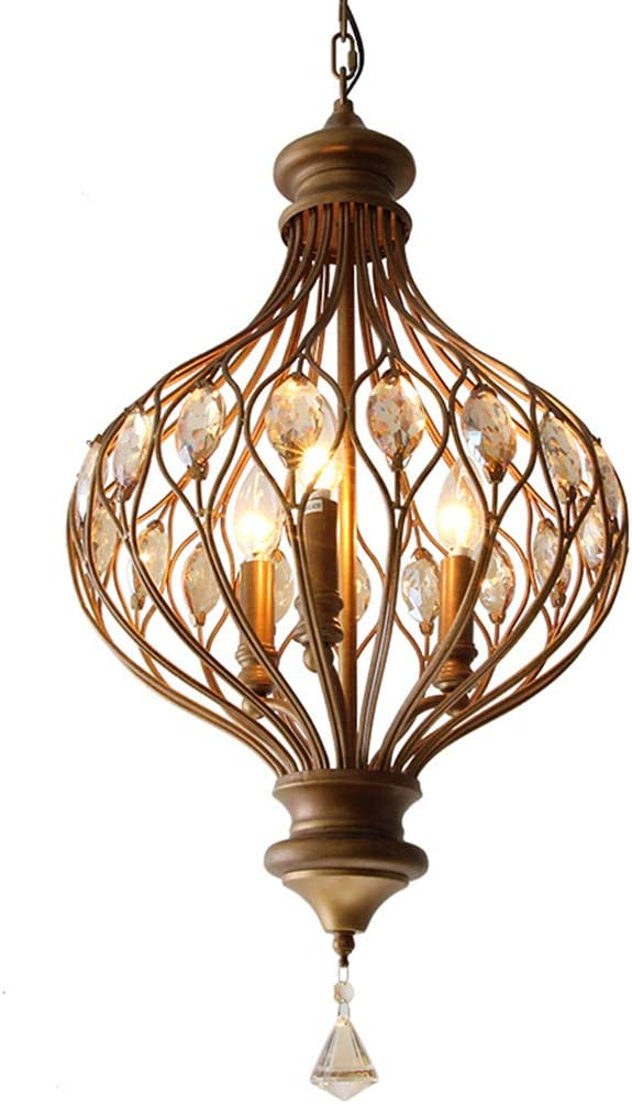 LJF lámpara Luces Colgantes Candelabro de Cristal Retro Hierro Forjado Pasillo Escudo Simple Dormitorio Linterna Araña [Clase de energía A ++] (Color : White Light)