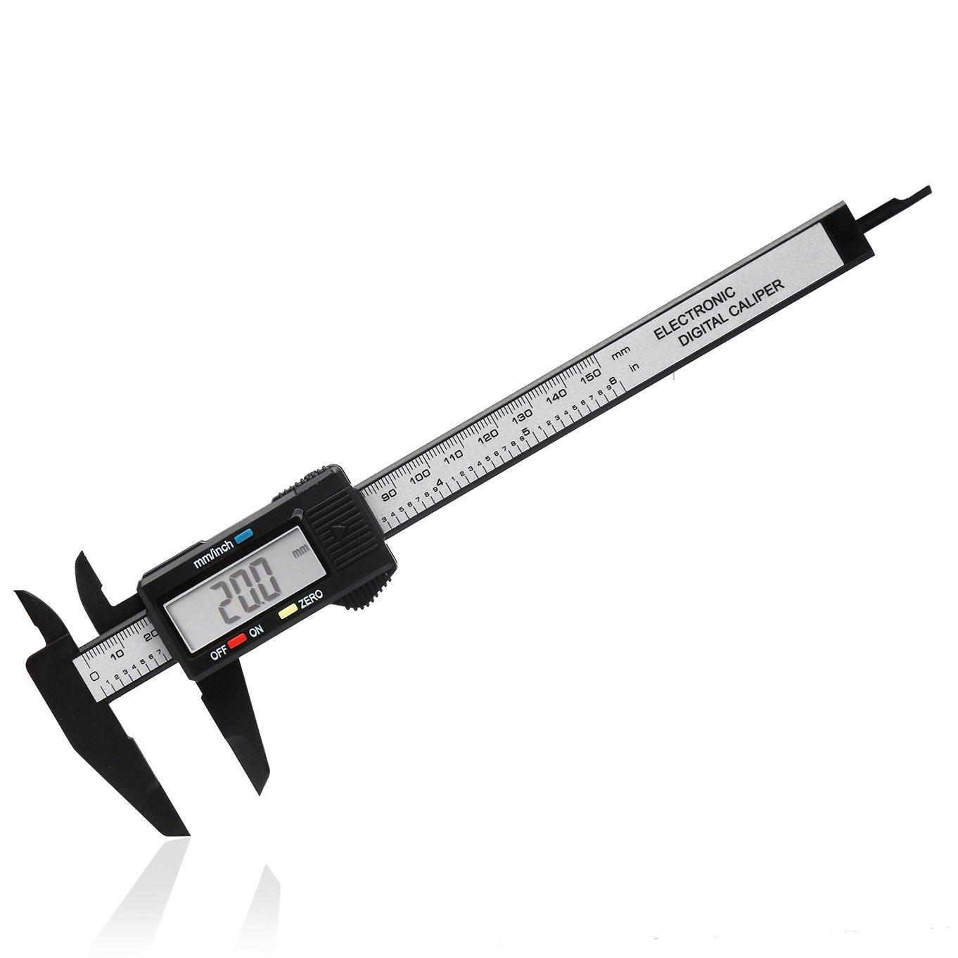 Digital Vernier Caliper - 150mm Pantalla LCD electró nica de 6 pulgadas Calibre de plá stico Calibrador Micró metro Regla Micró metro de fibra de carbono Herramienta de medició n Inch / Metric / Conversion Slyzone