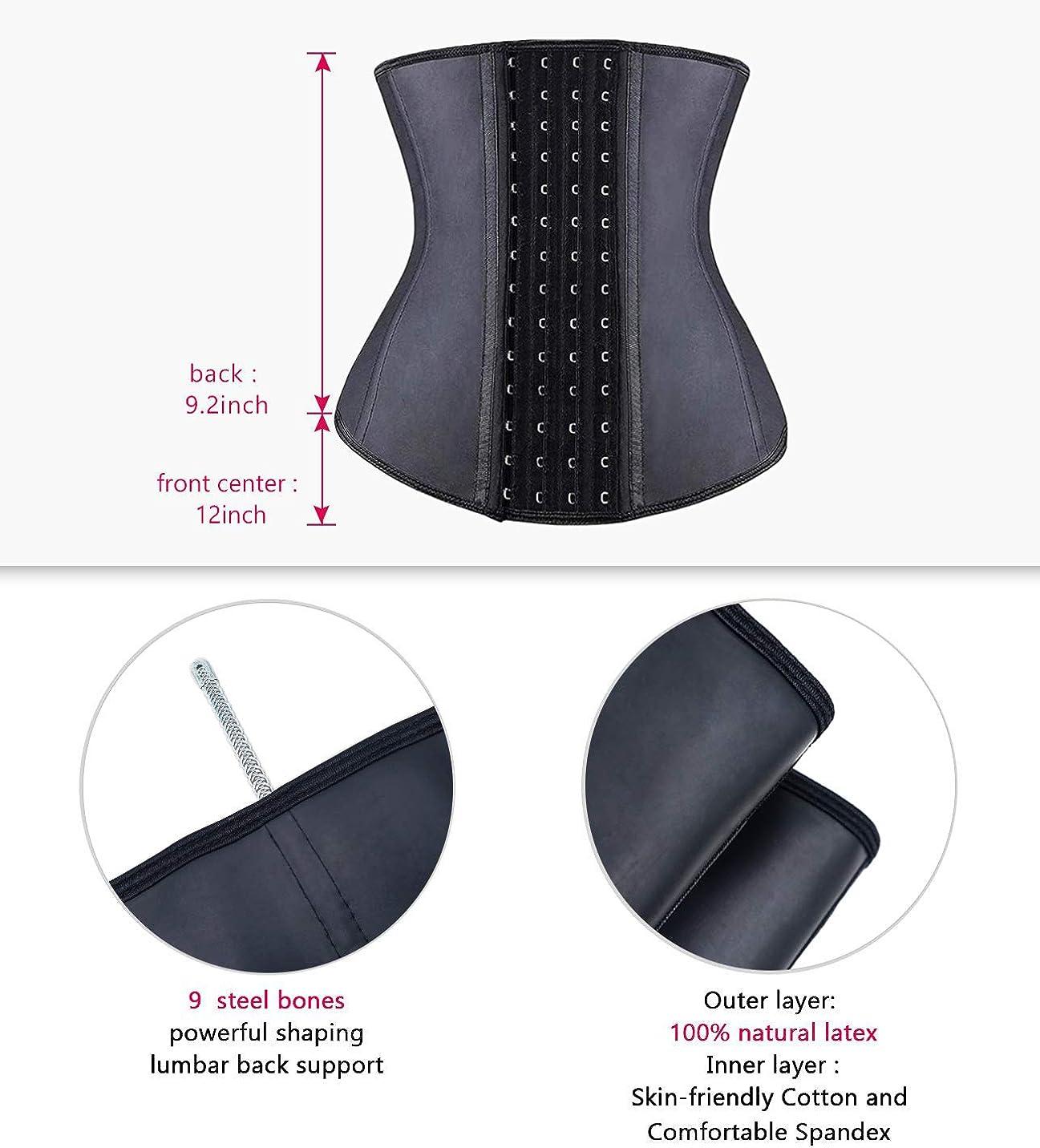 Details about  /YIANNA Women Latex Underbust Waist Training Corsets//Cincher Zip/&Hook Hourglass B