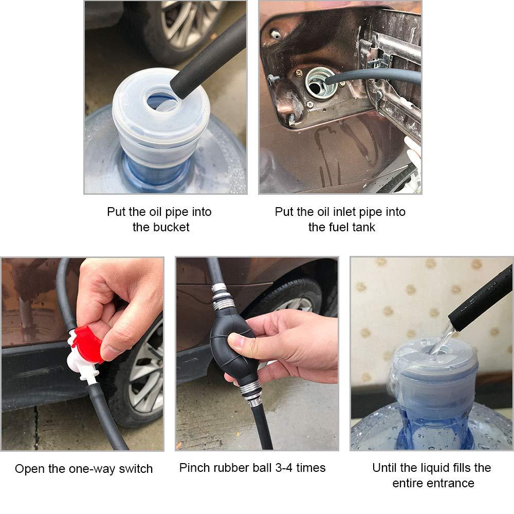 con 2m Manguera Transferencia de L/íquido para Motos Furgonetas Coches Cami/ón Barco Marino di/ésel y Agua Bomba de Mano de Gasolina flintronic Bomba Manual
