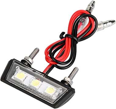 White 3 LED Motorcycle License Plate Light 12V Rear Tail Light with Screw Bolts