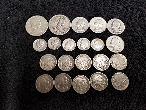 1913-1964 U.S. Silver Type Coin Set -Walking Liberty 1/2, Franklin 1/2, Washington 1/4s, Mercury dimes, Roosevelt dimes & Buffalo Nickels 21 Coins All VG to - 1964 Quarter Liberty