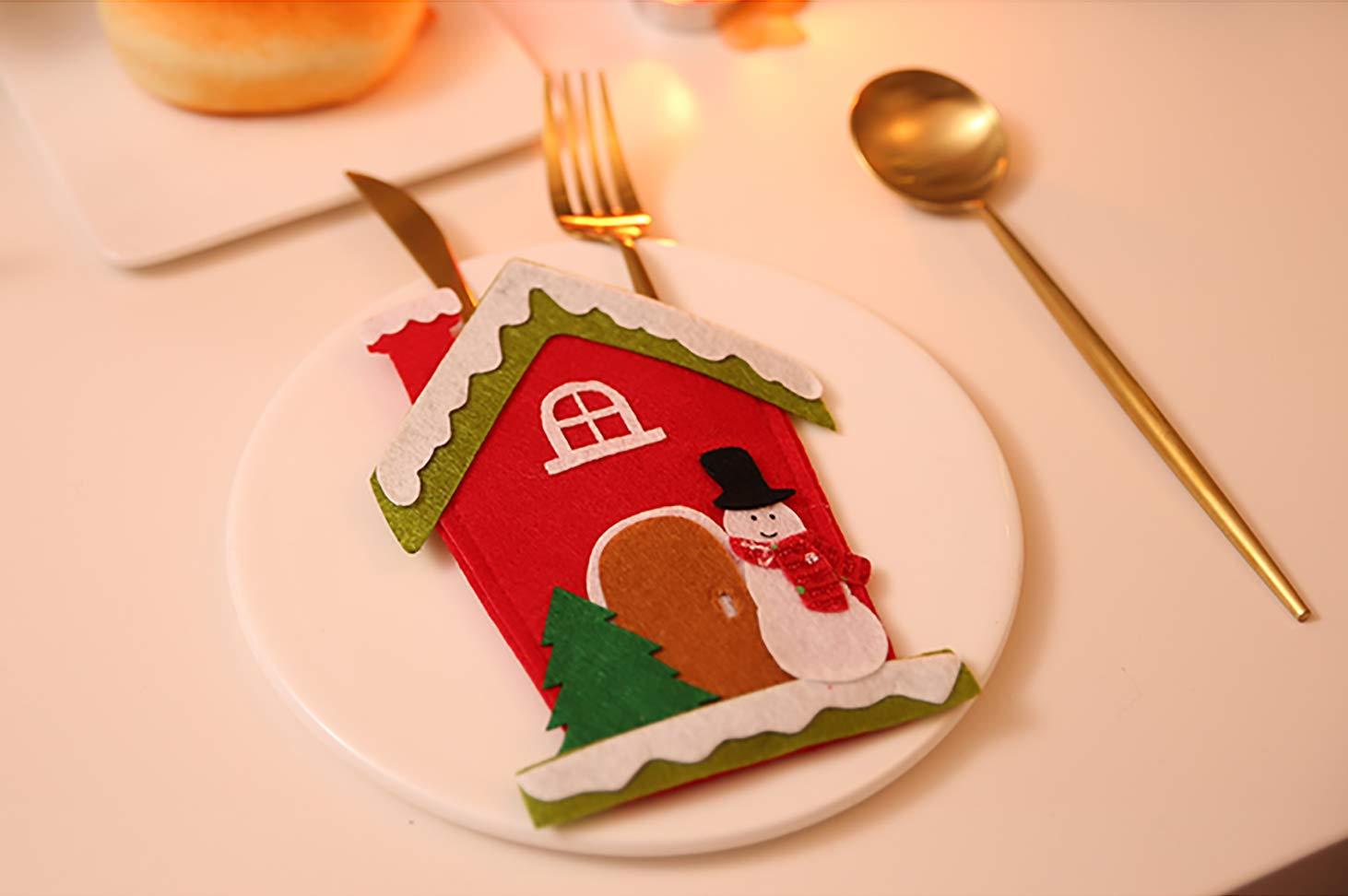KEFAN 12 Bolsas para Cubiertos de Dibujos Animados con Tenedor para decoraci/ón de Mesa de Navidad