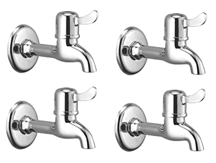Oleanna Magic Brass Quarter Turn Fittings Long Body Bib Cock Water Taps (Chrome Finish) (Pack Of 4 Pcs)