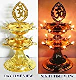 Bubby 2 Layer New Electric Gold LED Bulb Lights Diya/Deep/Deepak for Pooja/Puja/Mandir Diwali Festival Decoration