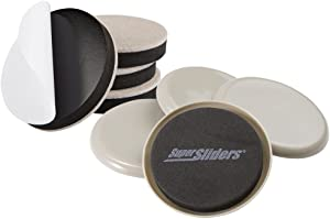Super Sliders 8 Pack, Reusable and Self-Stick Furniture Sliding on Hardwood and Carpeted Floors, Large 3-1/2'' Round in Linen Color