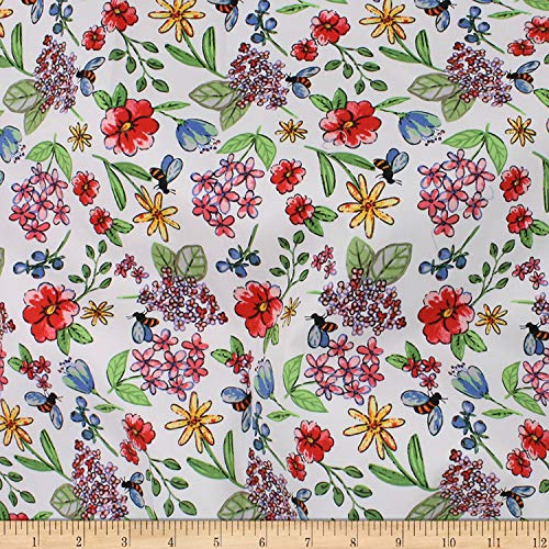 (Telio Bloom Stretch Cotton Sateen Floral Fabric, Coral, Fabric By The Yard)