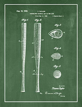 Streamlined Baseball Bat Patent Print Chalkboard
