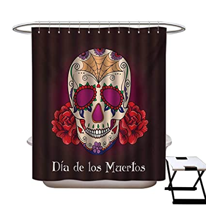 BlountDecor Day Of The Dead Shower Curtains With Hooks Dia De Los Muertos Quote Spanish Skull Head Skeleton Vivid Print Fabric Bathroom Set