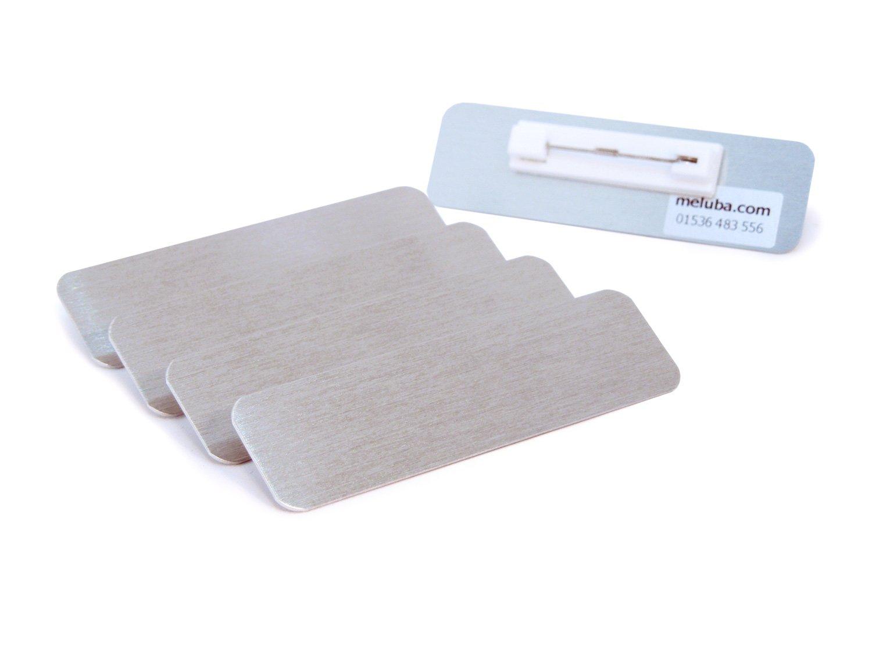 meluba Badge | Blank badge–spazzolato argento alluminio con Pin per–70x 20mm [Confezione da 5] Meluba Badges