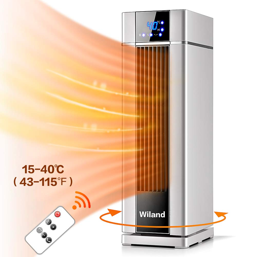 Space Heater,LCD Electric heater with Remote Control,8H Programmable Timer,Automatic constant temperature,1500 W Rapid Heater Air Conditioner Heater&Fan 3 Modes for Living room/Bathroom