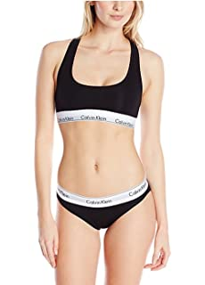 45c053ff57b Amazon.com  Calvin Klein Women s Modern Cotton Bralette and Bikini ...