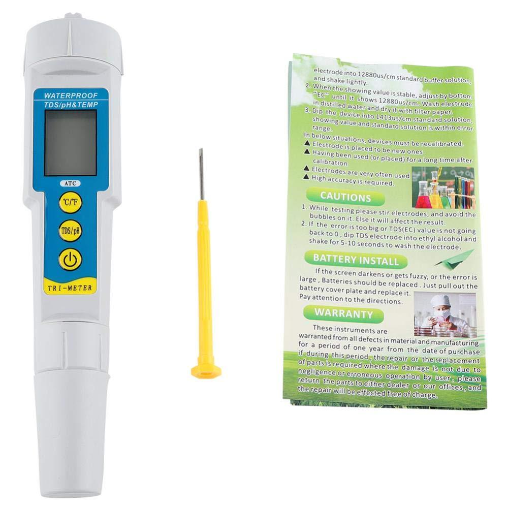 Pssopp Digital PH Meter 3 in 1 Multifunctional Digital PH/EC/Temp Meter Tester Water Quality Test Meter LCD Pen Water Quality Tester for Household Drinking Swimming Pools Hydroponics
