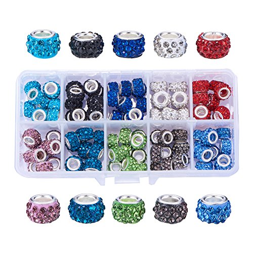 NBEADS 1 Box 100 PCS Mix Color Crystal Charms Rhinestone Spacer Beads Largr Hole Beads Fit European Bracelet Snake Chain Charms Bracelet - European Charm Bead