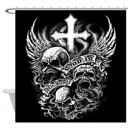 Shower Curtain God Is My Judge Skulls Cross Angel