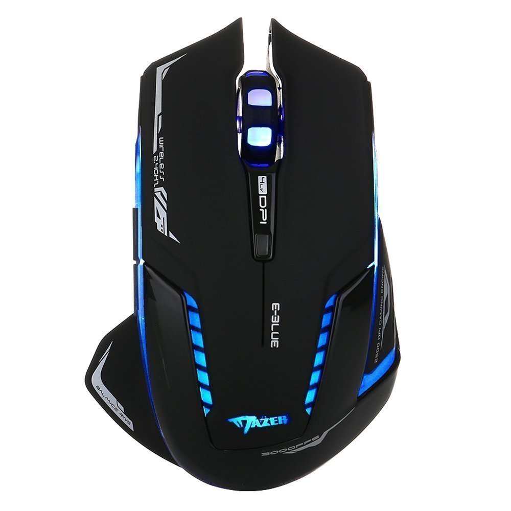 E-3LUE Wireless Gaming Mouse,2.4G Wireless Mouses Portable Optical Computer Mice with USB Nano Receiver and ON/OFF/light Switch,4 Adjustable DPI Levels,Power Saving Cordless Mouse for Laptop, PC, Mac