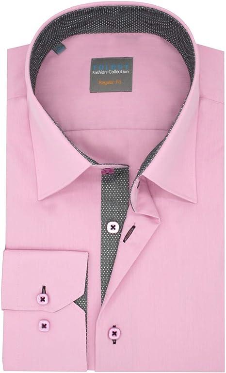 Camisa de los Hombres Slim - Fit Forros Rosa Lunares Gris-Blanco: Amazon.es: Ropa y accesorios